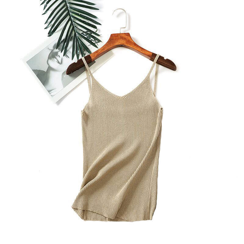 Women 2019 Sexy Knitted   Tank     Tops   Gold Thread   Top   Vest Summer Camisole Women White   Tank     Top   Fitness Femme T shirt