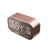 Bluetooth Speaker LED Double Decorated Wood Alarm Clock Wireless Blue Tooth Speakers Subwoofer with Temperature for Home Office