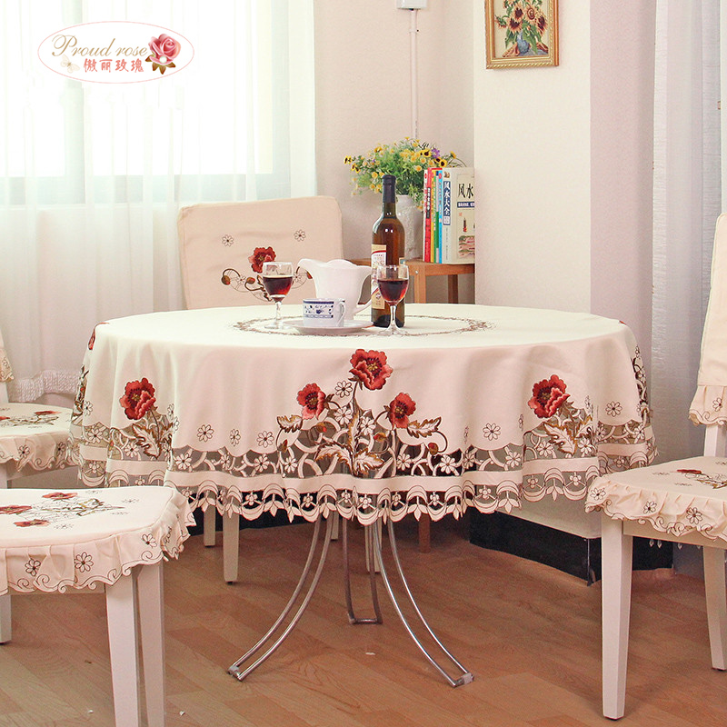Stolt Rose Utsökt Broderi Hollow Out Round Bordduk Rural Round Tablecloth Den moderna heminredningstäckningen
