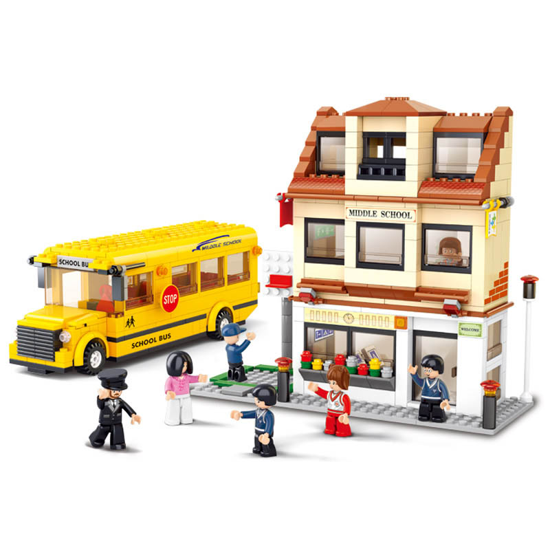 B0333 Sluban SimCity Middle School School Bus Model Building Blocks Classic Enlighten Figure Toys For Children Christmas Gift image