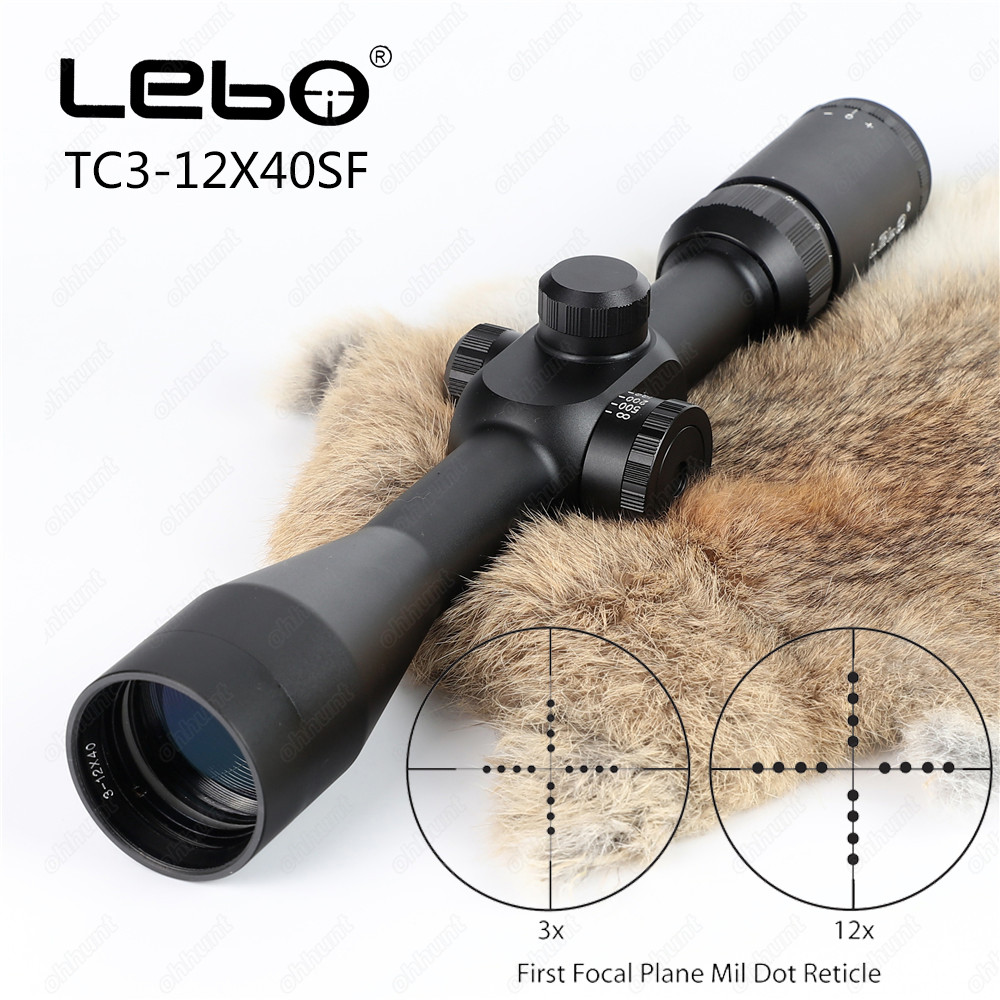 LEBO TC 3-12X40SF Tactical Hunting Riflescope Glass Etched Reticle Optical Sights 1st Focal Plane Side Parallax Rifle Scope marcool 4 16x44 side focus front focal plane optical sights rifle scope hunting riflescopes for tactical gun scopes for adults