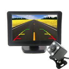 TFT 4.3 дюймов авто заднего парковка Мониторы + 4 LED Ночное видение ПЗС заднего вида автопарк Камера с зеркало автомобиля мониторы S 2 in1