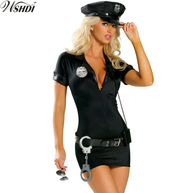 3601b066288 US $12.67 15% OFF| Black Police Costume Sexy Female Cop Uniform Adult  Halloween Costumes Cosplay Fancy Dress Party Police Costume -in Holidays ...