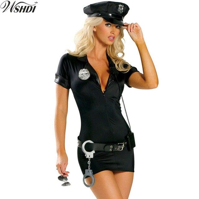 Negro traje de policía sexy mujer policía uniforme adulto Halloween Cosplay disfraces  policía partido 3af2ee40e7f
