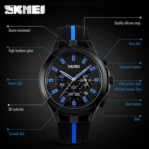 SKMEI Mens Watches Top Brand Luxury Male Quartz Watch Fashion Chronograph Sport Watch Silicone Strap Clock Men Relogio Masculino Multan