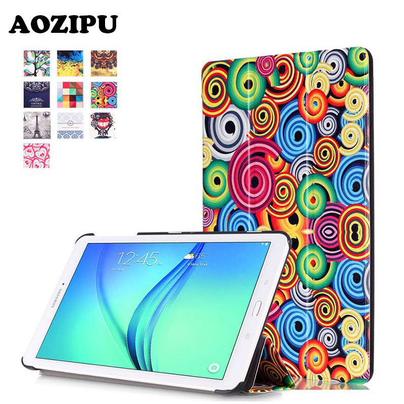 Fashion Printed PU Leather Magnetic Case Stand Protective Cover for Samsung Galaxy TAB E 9.6 T560 T561 T565 T567V eReader Funda