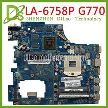 цена на KEFU LA-6758P motherboard For Lenovo Ideapad G770 Y770 motherboard PIWG4 LA-6758P REV:1.0 motherboard Test 100% original