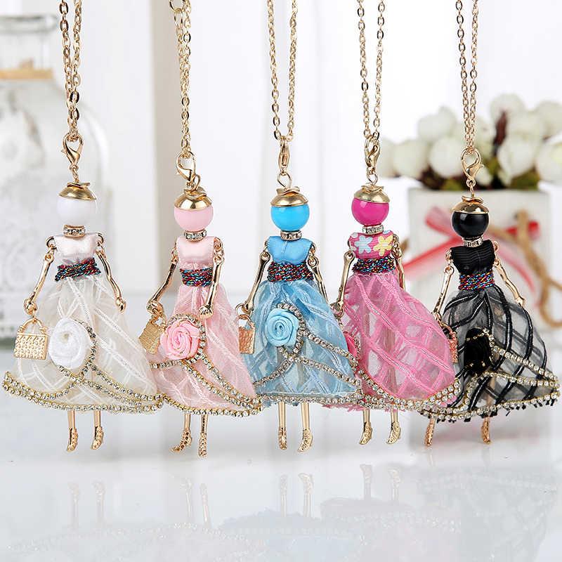 Эффектное цветочное Кукольное ожерелье, платье ручной работы, французская кукла, подвеска 2018, новинка, Женское Ожерелье из сплава для девочек, модные украшения