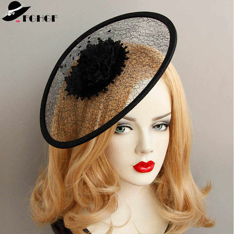 "26.5cm/10.4"" Charming Round Black Flower Ladies Headband Lace Netting Mesh Hair Band Cocktail Hat Party Girls Women Fascinators"
