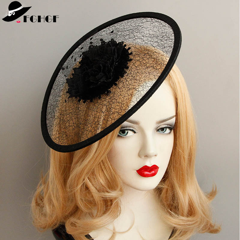 FACINATORS FLOWER NETTING /& FEATHER  in 3 colours ON A black  COVERED HEADBAND