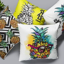 Pineapple Cushion Cover Christmas Festival Skull Sunglasses Fruit 45*45cm Throw Pillow Cases Pillowcase Bedroom Sofa Decoration