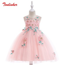 Summer New Kids Flower Fairy Embroidery Princess Tulle Tutu Dress Girls Birthday Wedding Theme Party Ball Gown Dress недорого