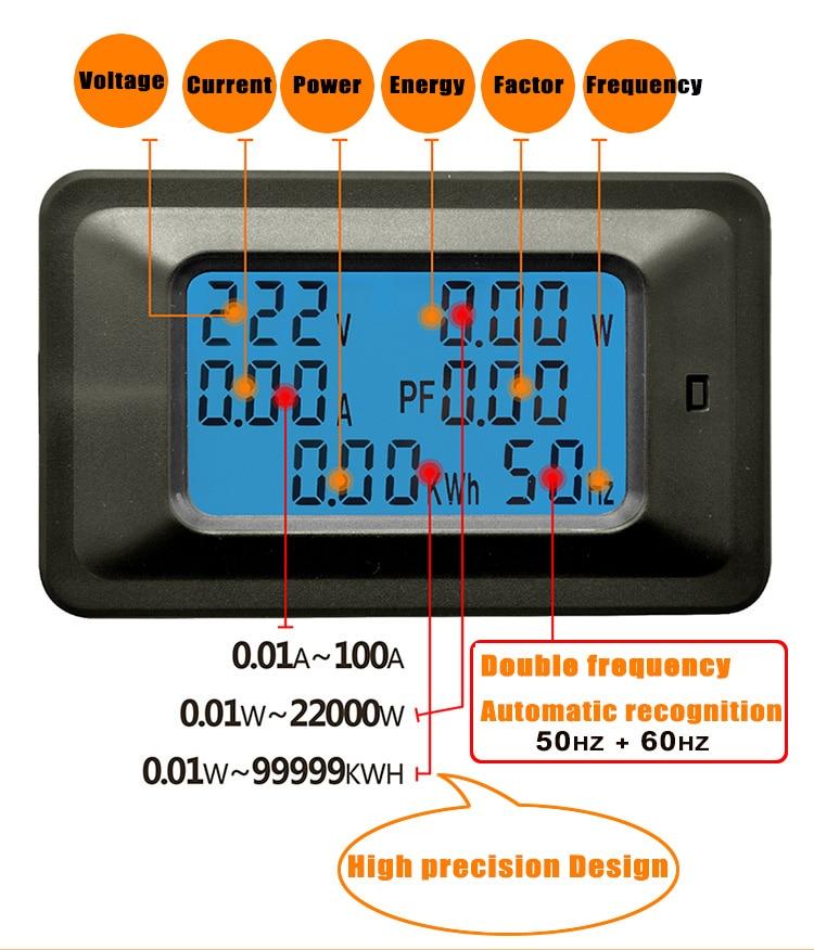6 IN 1 Digital AC Voltage Meter 100A/20A 110~250V Energy Meter ...