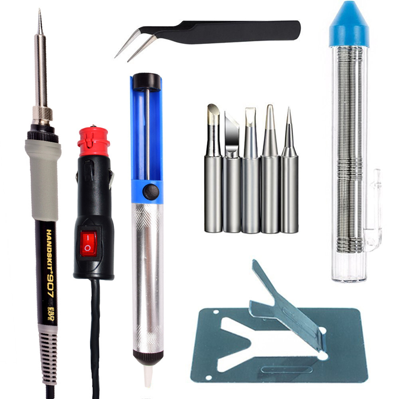 Handskit 12 V DC 35 W Low-voltage Electric Heat Soldering Iron with Switch Desoldering Pump Soldering Stand 5 Soldering Tips цена