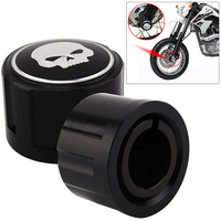 1 Pair Aluminum Motorcycle Motor Front Axle Nut Cover With Skull Pattern And Screws For Harley
