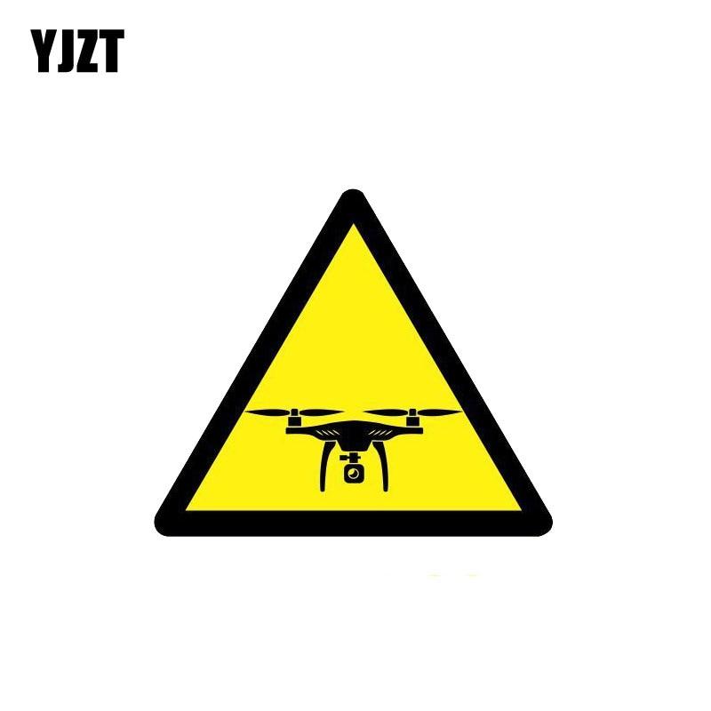 YJZT 11CM*9.6CM Warning Car Sticker Caution Drones Reflective PVC Decal 12-1076