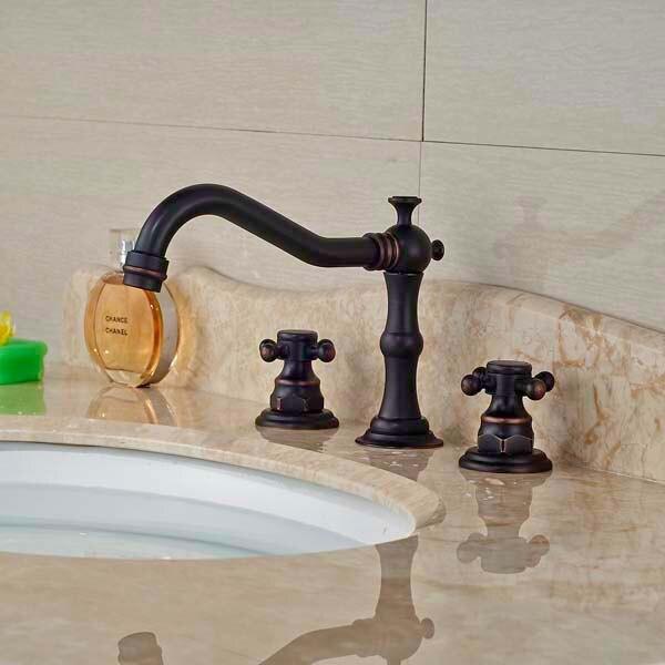 цена на Traditional Double Handles Bathroom Faucet Vanity Sink Mixer Tap Oil Rubbed Bronze Mixer Tap