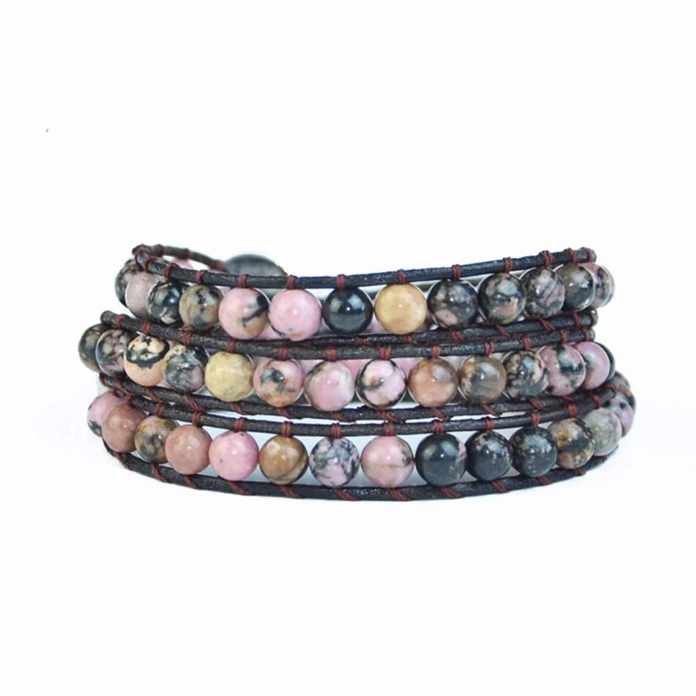 YGLINE  Leather Wrap Natural Stone Bracelets Beaded Bracelet Fashion Women Bracelet Bohemian Bracelet Drop shipping