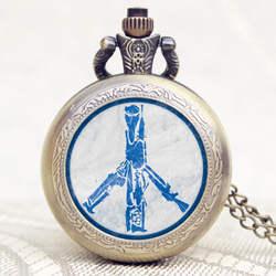 Голубь мира тема дизайн старый античный бронзовый стеклянный купол кулон карманные часы с цепочкой цепочки и ожерелья Relogio де Bolso Erkek Kol saati