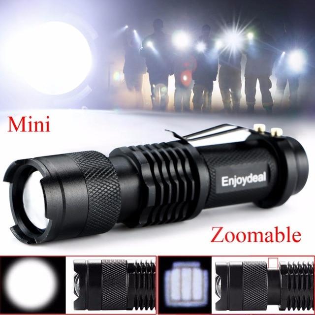 Super Bright Mini Penlight 2000Lm CREE Q5 LED Flashlight Torch Adjustable Zoom Focus Lantern Black hot