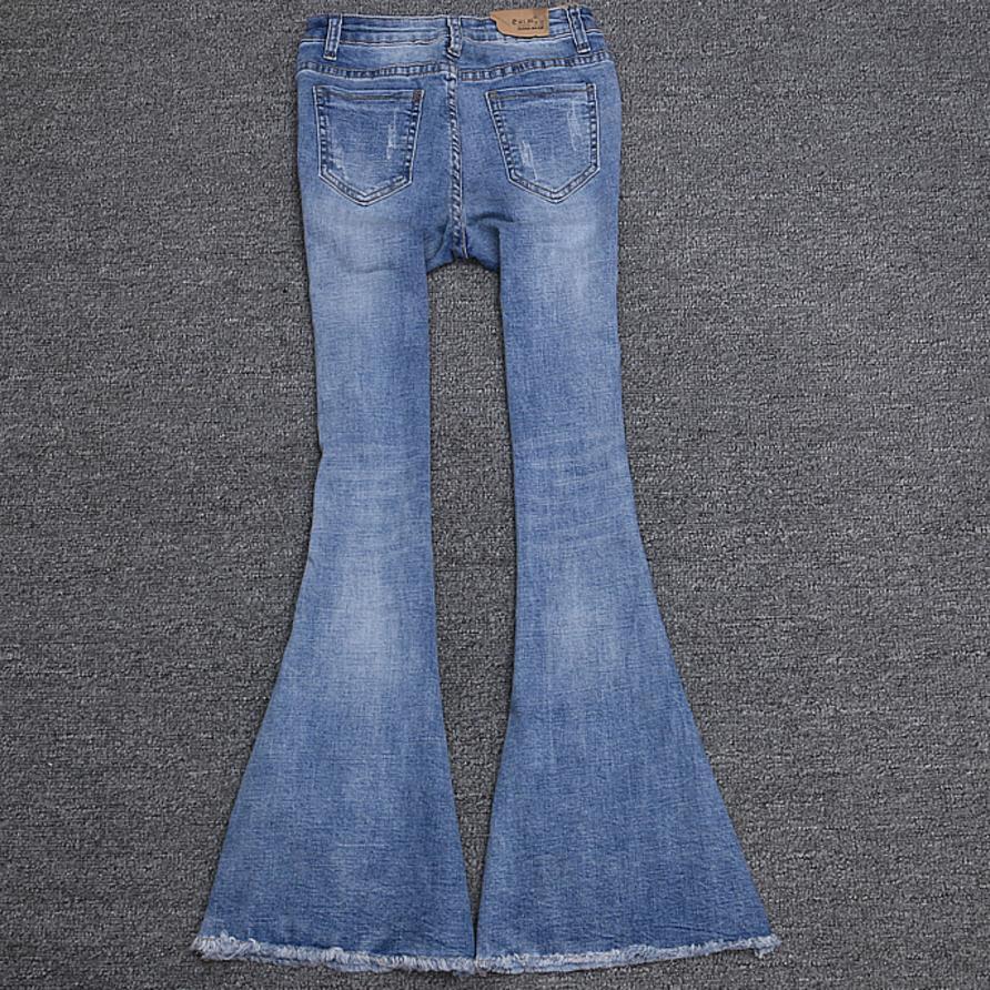 Light Casual Floral Perles Blue Appliques Nouvelle Rue Flare Mode Pantalon 2018 Belle Jeans Lady Paillettes EYqSaOwHx