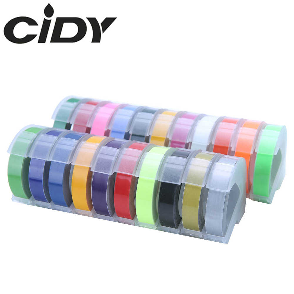 Cidy 1 Pcs 9 Mm 6 Mm 12 Mm DYMO 3D Plastik Embossing Tape untuk Embossing Label Pembuat Label Pvc DYMO 1610 12965 1880 1540 Motex E101