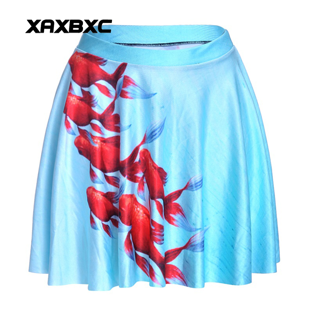NEW 1206 Summer Sexy Girl Red Goldfish KOI Blue Printed Cheering Squad Tutu Skater Women Mini Pleated Skirt Plus Size