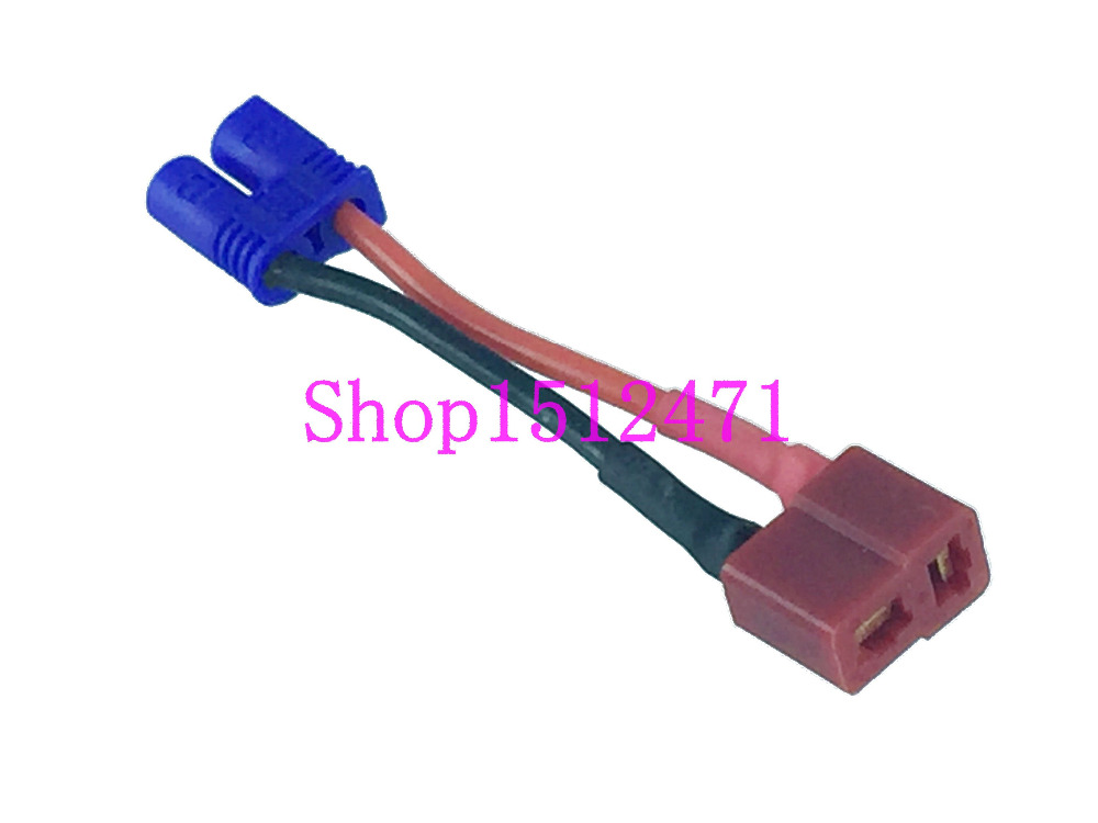1pce T-Plug (Deans Style) Female To EC2 Male Adapter 18AWG 5CM Wire For RC
