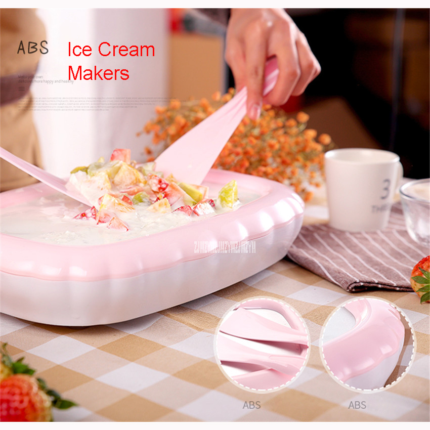 QC-CB001 Family Fully Automatic Ice Cream Machine Self Made Fruit Ice  Cream Machine ABS shell Children DIY fried ice tray 105mm home intelligent fully automatic american style coffee machine drip type small is grinding ice cream teapot one machine