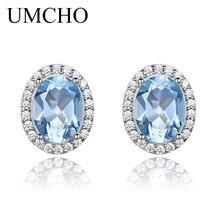 UMCHO Blue Topaz Stud Earrings For Women Solid 925 Sterling Silver Earrings Girl Fashion Gemstone Jewelry Wedding Party Gift New
