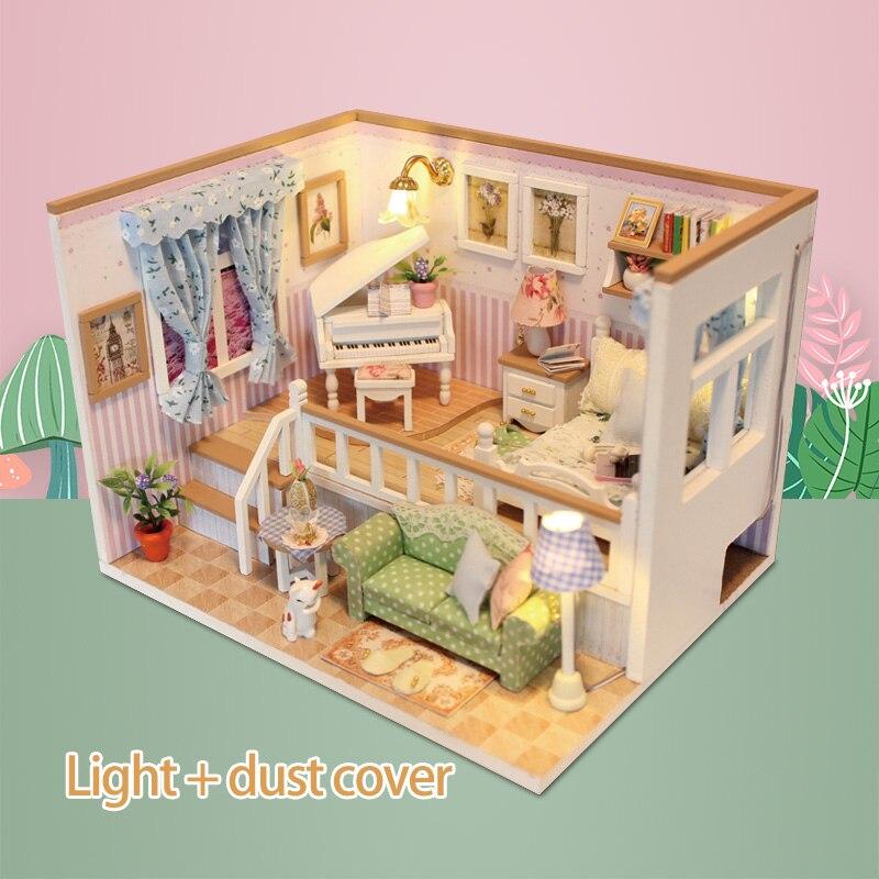 Romantisch Diy Houten Huis Miniaturas Met Meubels Diy Miniatuur Poppenhuis Speelgoed Voor Kids Kerst En Verjaardagscadeau M026 Het Comfort Van Het Volk Aanpassen