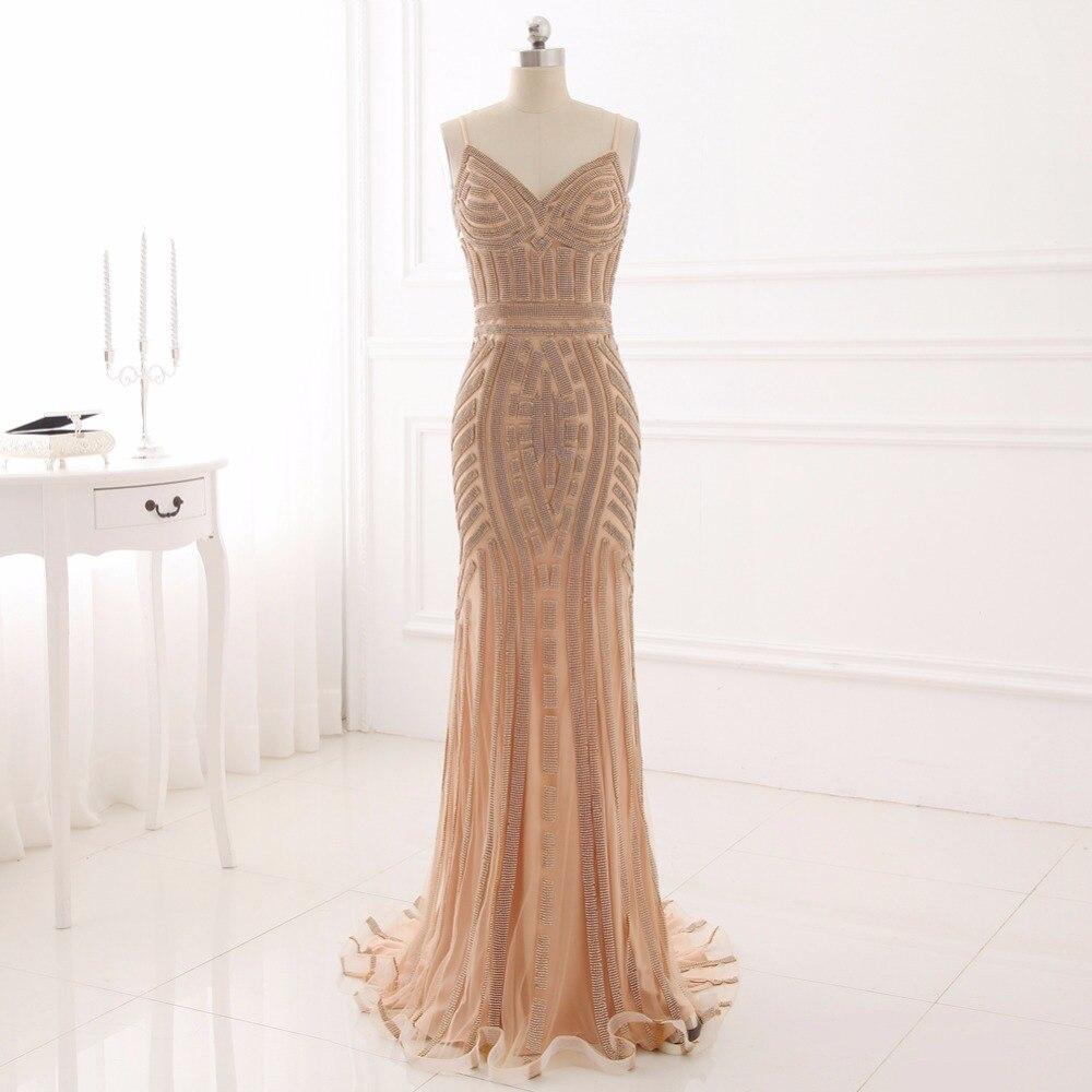 Сексуальная спагетти ремень русалка пром dress бисероплетение рукавов v-образным вырезом длина пола формальное вечернее платье vestido де фиеста yy506