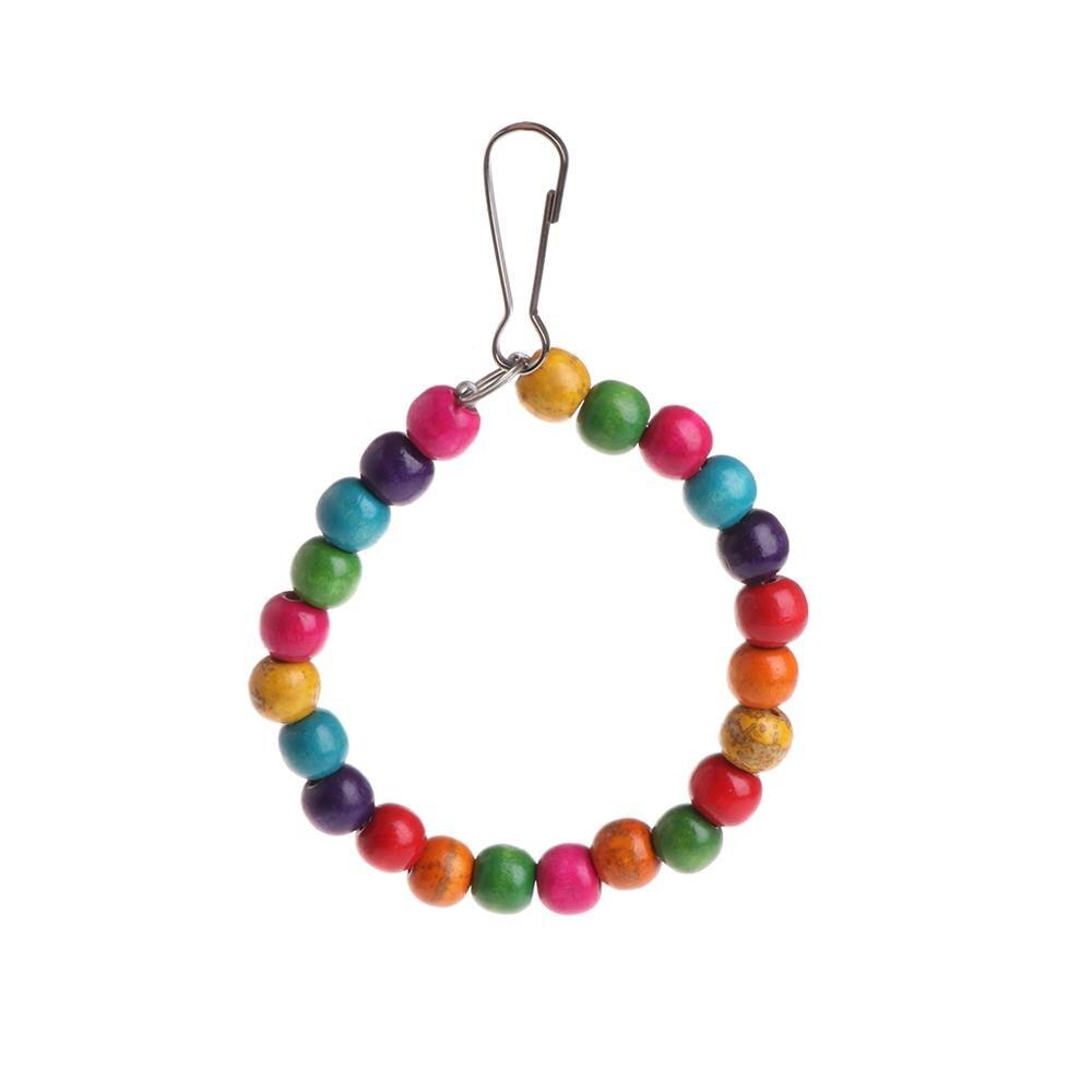 Let's Pet деревянные птицы попугаи игрушки подставка держатель висячие качели кольца с красочными шарами - Цвет: S