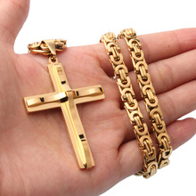 Cool Gold Christ Cross Pendant Necklace Male Sturdy Stainless Steel Crucifix Link Chains Religious Jewelry Body Statement Gift
