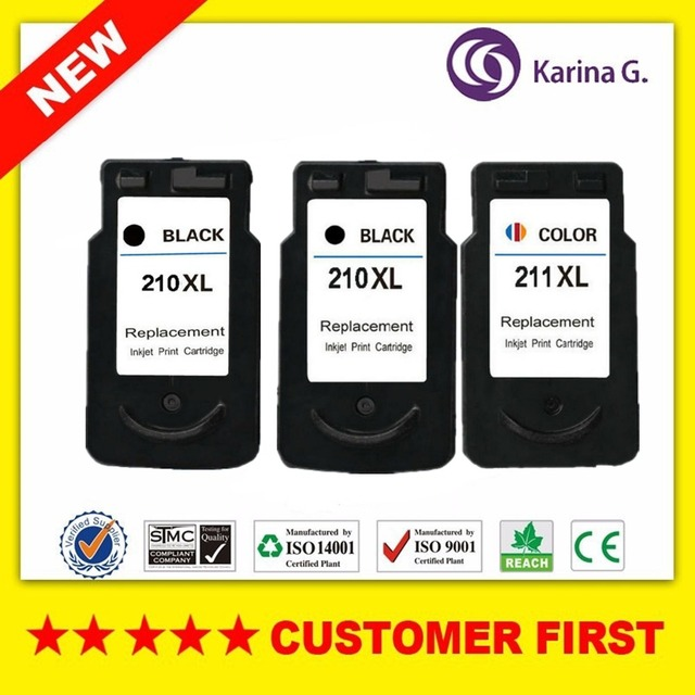 3PCS Remanufactured For Canon PG210 CL211 Ink Cartridge Suit MP240 MP250 120ML Printer
