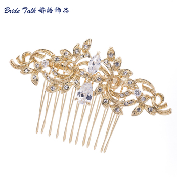 Vintage Gold Bridal Hair Comb Hairpins Rhinestone Crystal Drop Zircon Flower for Women Wedding Accessories Wholesale CO4012R