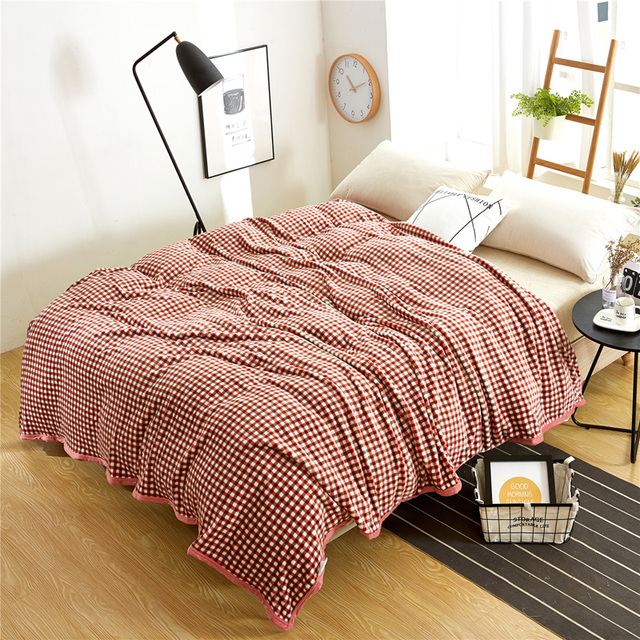 Svetanya Fleece Soft Blanket Bedding Sofa Throws Plaid Bedsheet Bedspread  Thin