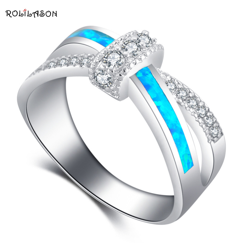 ROLILASON So Shining Zircon Office Style Blue Fire Opal 925 Silver Fashion Jewelry Rings USA Size #5#6#7#8#9#10#11#12 OR875