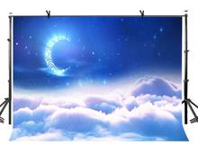 7x5ft Night Sky Backdrop Moon Stars Blue Beautiful Photography Background and Studio Props