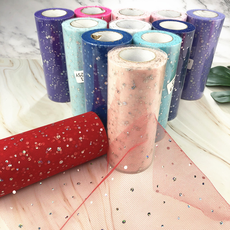 Glitter Sequin Tulle Roll 15cm*22m Tulle Roll Spool Tutu Skirt Wedding Decoration Organza Baby Shower Birthday Party Supplies