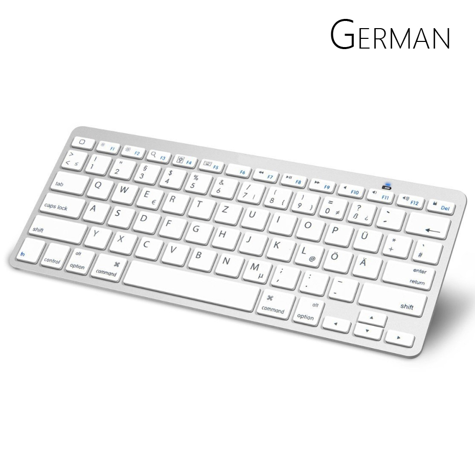German Bluetooth Keyboard with QWERTZ Layout Wireless
