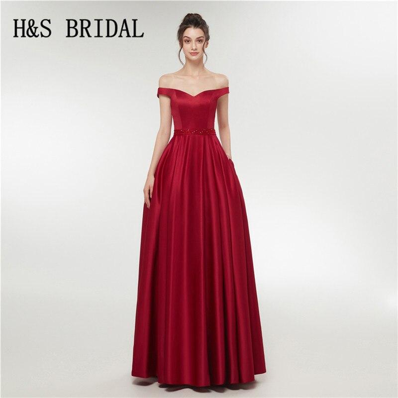 H & S mariée rouge foncé robes de soirée longue élégante épaule dénudée robe de soirée longue 2018 longues robes de soirée de bal