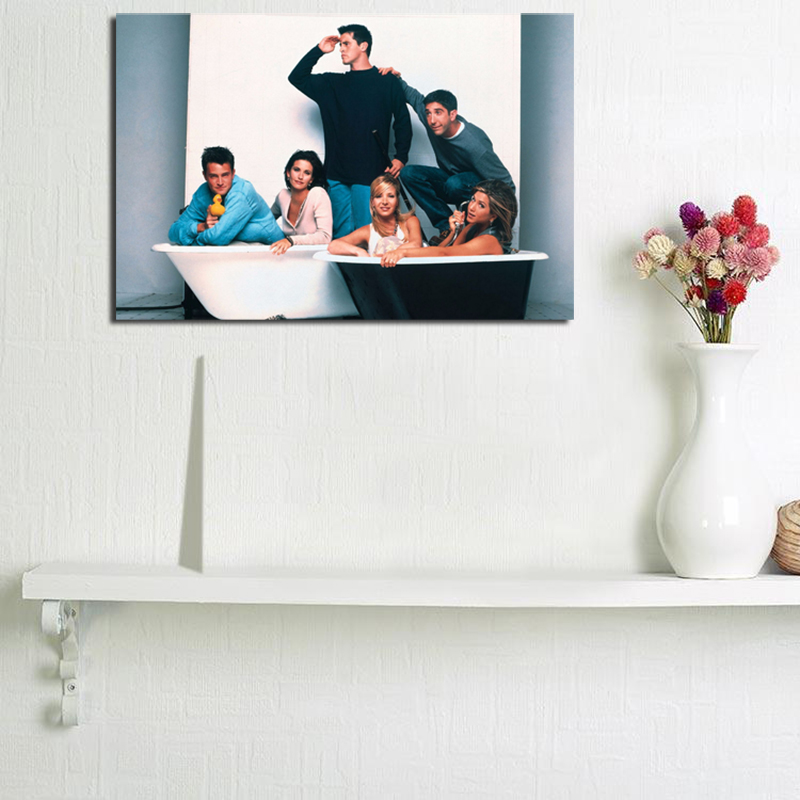 Wallpaper Of The Cast Friends TV In A Bath Tub Canvas Painting Print Living Room Home Decor Modern Wall Art Oil Painting Poster in Painting Calligraphy from Home Garden