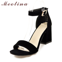 Meotina Women Shoes Sandals Summer Ankle Wrap Sandals High Heels Chunky High Heel Work Shoes Black