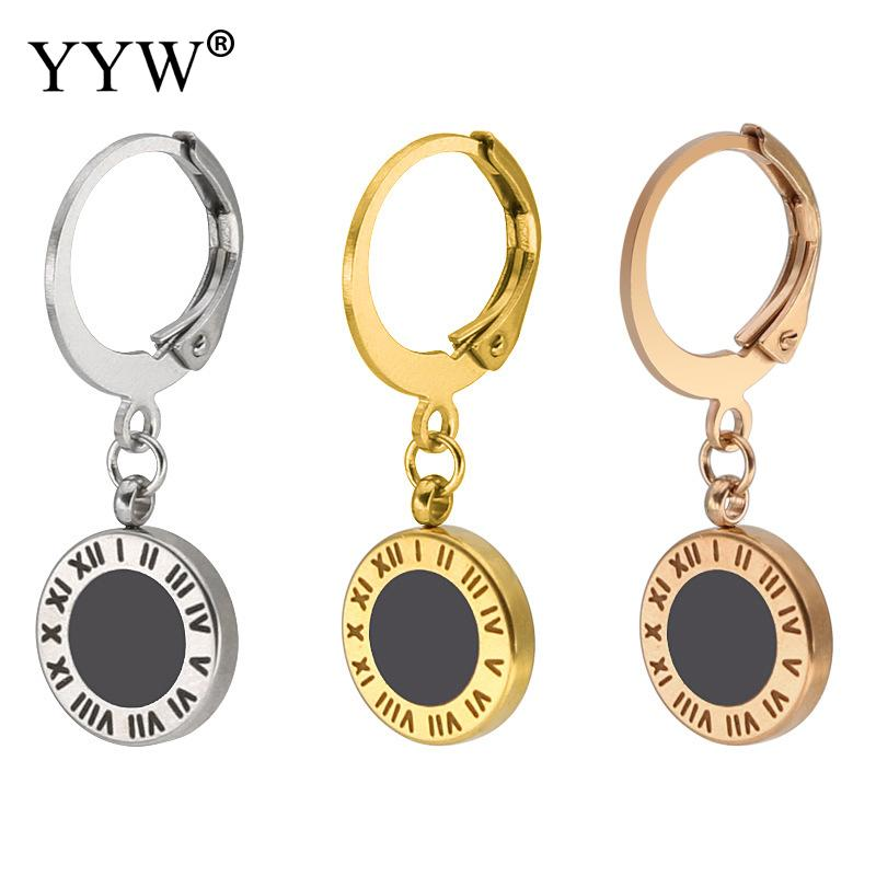 316 Stainless Steel Huggie Loop Drop Earring Flat Round plated polished roman number Unisex enamel more colors Sold By Pair
