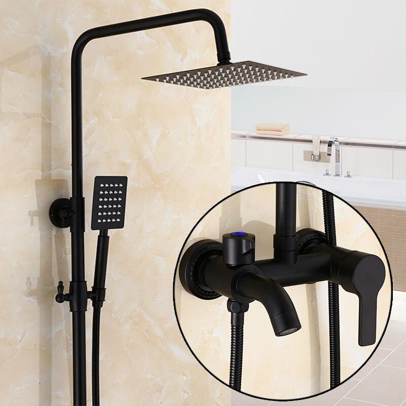 Cheap Price Bathroom Faucet Black Bronze Rain Shower Bath Faucet Wall Mounted Bathtub Shower Mixer Tap Bathroom Shower Faucet Shower Set Home Improvement
