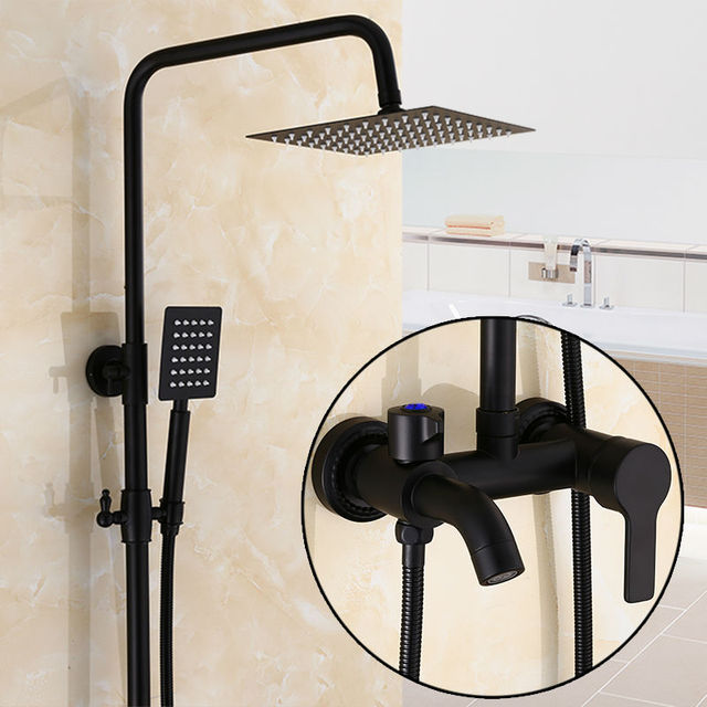 Black Bronze Single Handle Bath Shower Bathroom 8 Rainfall Faucet Set Mixer Taps Wall