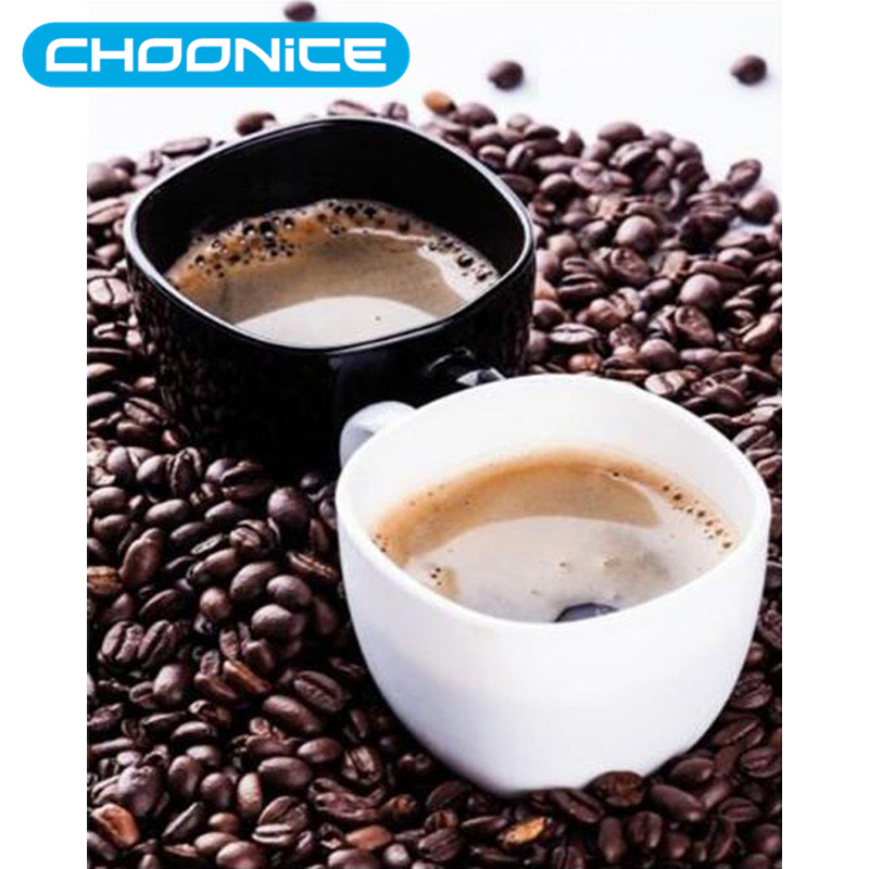 CHOONICE Diamond Painting Coffee Black And White Coffee Cups DIY 3D Diamond Embroidery Brown Beans Hot Coloring By Numbers