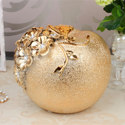 New Best Gift Golden Electroplated Ceramic Apple Ornaments Crafts Artwork Den Coffee Table Wine Decorations Ceramic Plating