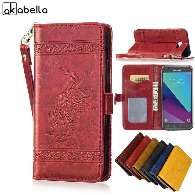 AKABEILA Flip Cases For Samsung Galaxy J3 2017 J330F/DS J3 Pro 2017 5.0 inch US Version Holster Phone Case Back Covers Shells
